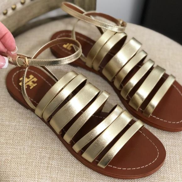f9b128d72d2 Tory Burch Patos Ankle Strap Gladiator Sandal Gold.  M 5ac15b419d20f0b943073cea